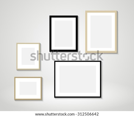 Frames On Wall vector picture frames on wall stock vector 291607493 - shutterstock