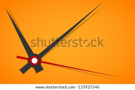 Vector picture of analog clock face, watch.Conception of punctuality or deadline. Precise time-keeping and measurement of time. Timepiece with arrows pointing on hour, minutes and seconds on orange. - stock vector