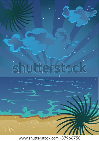 vector picture of cartoon summer nocturnal  beach with clouds on sky and stars - stock vector