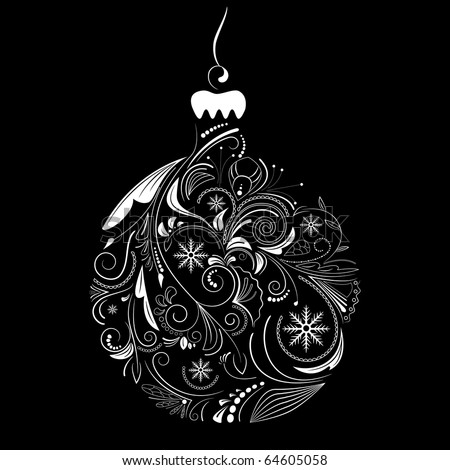 Vector picture of white silhouette of christmas ball on black background - stock vector