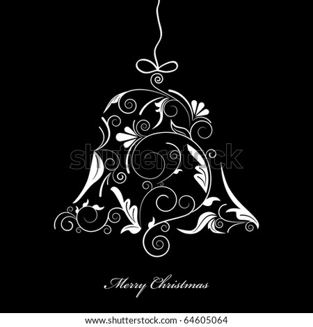 Vector picture of white silhouette of christmas bell on black background - stock vector