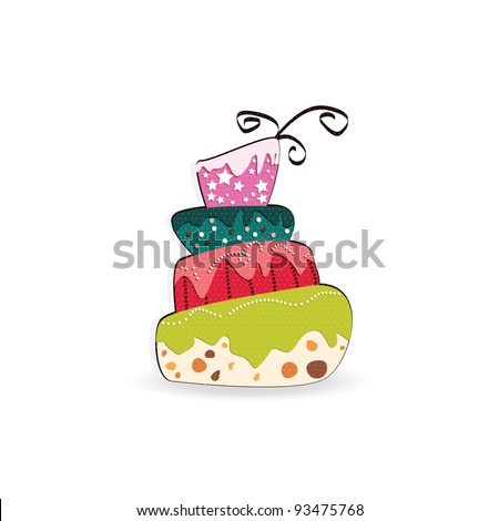 Vector picture with birthday cake - stock vector