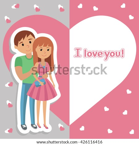 Vector picture with congratulations for the holiday. Illustration of young couple in background of heart with lettering I love you. Man and woman in love.