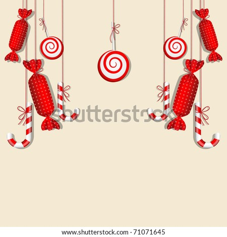 Vector picture with different red candies - stock vector