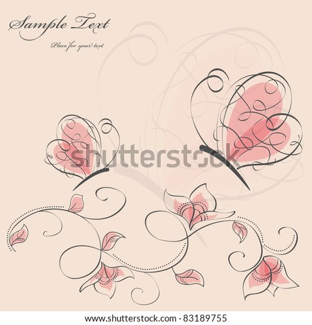 Vector picture with flowers and pink butterflies - stock vector