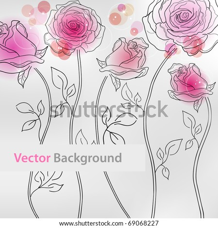Vector picture with pink roses - stock vector