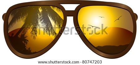 Vector picture with sunglasses - stock vector