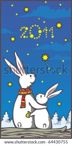 Vector picture with two rabbits looking to sky