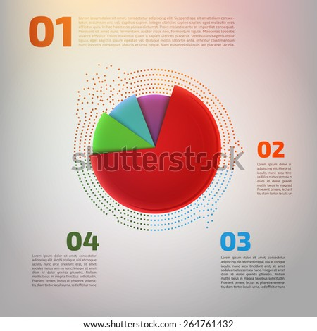 Vector pie chart graphic for business design, infographics, reports or workflow layout. clean, fresh and modern style