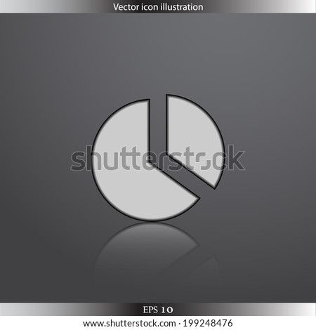 Vector pie chart web flat icon.  Isolated. Flat design. - stock vector