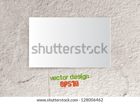 Vector piece of paper / card over old grungy concrete wall background - stock vector