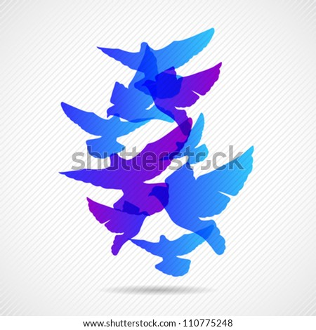 Vector pigeons background design. Colorfull EPS 10 concept.
