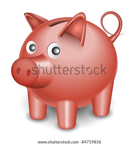 Vector Piggy Bank Icon - stock vector