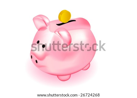 vector piggy bank with coin - stock vector