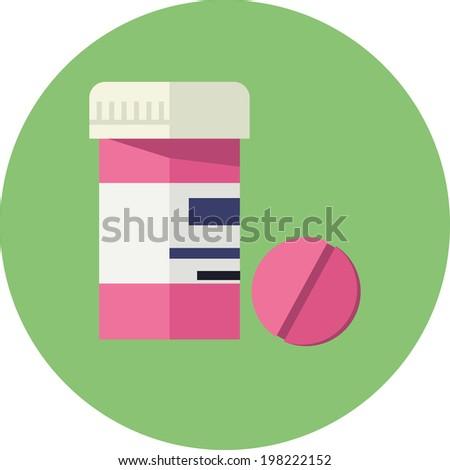 Vector Pill Bottle - stock vector
