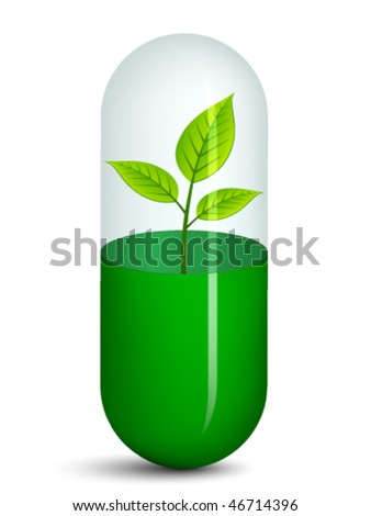 vector pill with plant - stock vector
