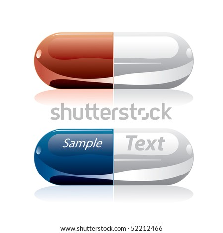 vector pills in red and blue - stock vector