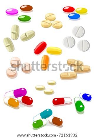 Vector pills on white background - stock vector