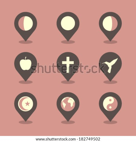Vector Pin Iconset - Mystery  - stock vector