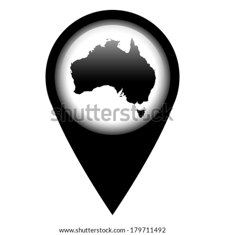 Vector pin with the map in - Australia