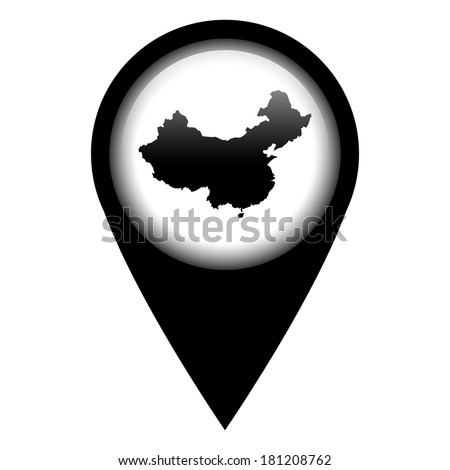 Vector pin with the map in - China - stock vector