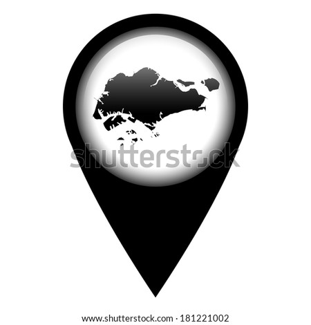 Vector pin with the map in - Singapore - stock vector