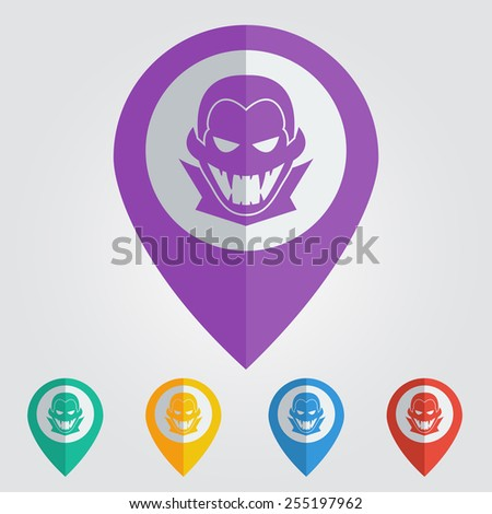 Vector pin with vampire icon. Format eps 10 - stock vector
