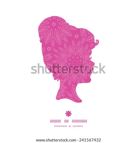 Vector pink abstract flowers texture girl portrait silhouette pattern frame - stock vector