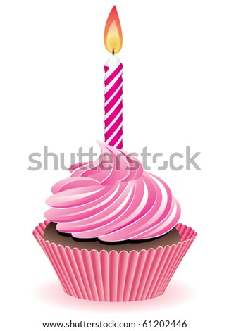 vector pink cupcake with burning candle - stock vector