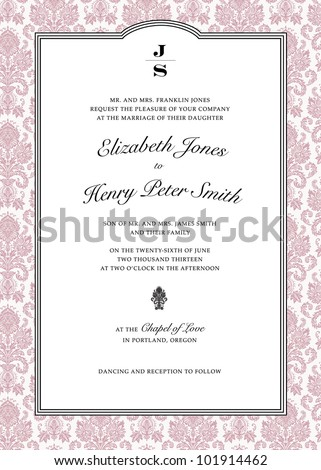 Vector Pink Damask Frame. Easy to edit. Perfect for wedding invitations or announcements. - stock vector