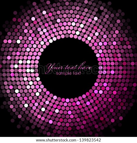 Vector pink disco lights on black background - stock vector