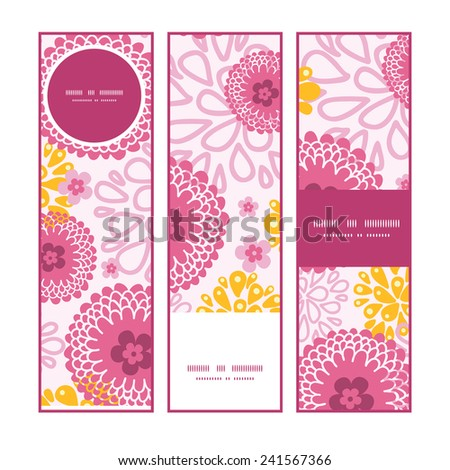 Vector pink field flowers vertical banners set pattern background - stock vector
