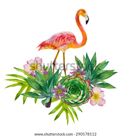 Vector pink flamingo with exotic tropical plants isolated on a white background. Floral composition. Hand-drawn watercolor picture. Roses, palms, leaves, passionflower, succulent - stock vector