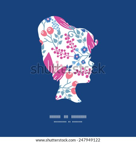 Vector pink flowers girl portrait silhouette pattern frame