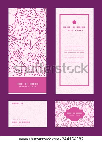 Vector pink flowers lineart vertical frame pattern invitation greeting, RSVP and thank you cards set - stock vector