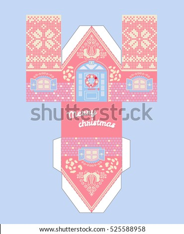 Vector Pink Gingerbread House Template Cute Stock 525588958