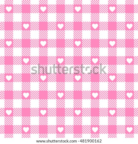 Vector pink gingham seamless pattern with hearts