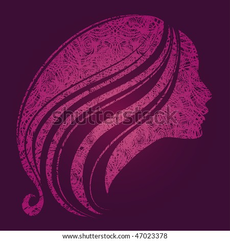 """Vector pink illustration of a girl with beautiful hair (from my big """"Vintage girl collection"""") - stock vector"""