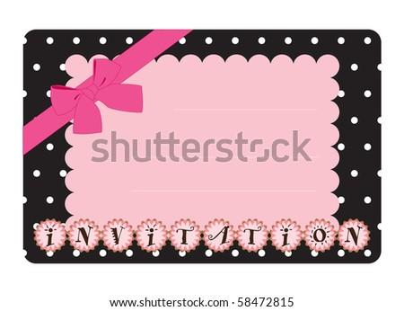 Vector pink invitation - stock vector