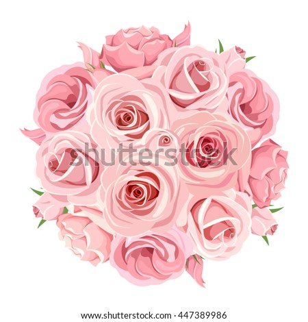 Vector pink roses bouquet isolated on a white background.