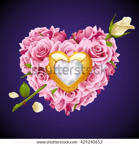Vector pink Roses, golden jewel and white crystal in the shape of heart with flower arrow