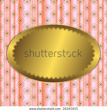 Vector pink striped floral  background with golden banner - stock vector