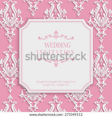Vector Pink Vintage Background with 3d Floral Damask Pattern for Greeting or Invitation Card Design in Paper Cut Style - stock vector