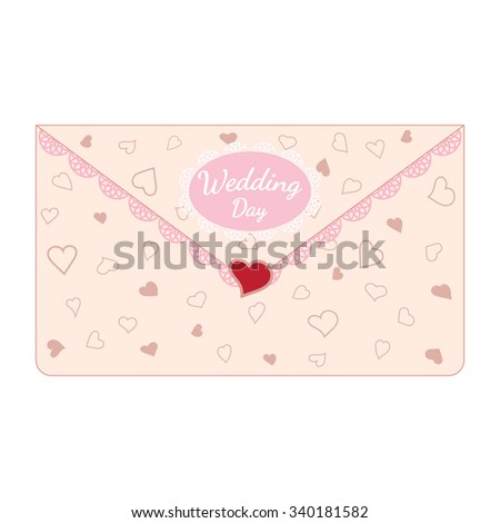 Vector pink wedding letter decorated with lace and texture of hearts. Element for your wedding designs, valentine s day projects, and other your romantic projects. - stock vector
