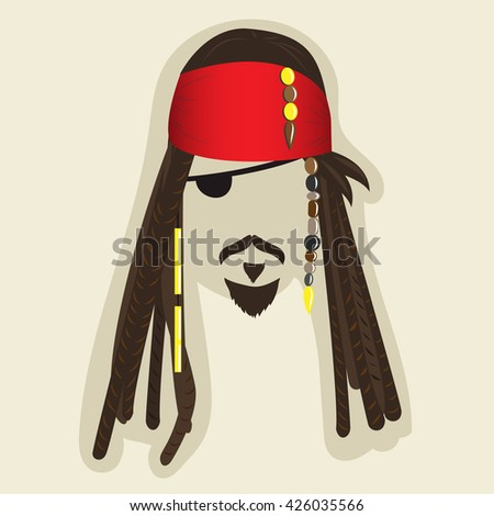 Vector pirate elements for photo booth or collage. Face symbol of a pirate with dreadlocks, bandana, mustaches, small beard, eye patch. Illustration with blanked out face for taking pictures - stock vector