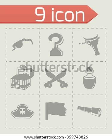 Vector Pirate icon set - stock vector