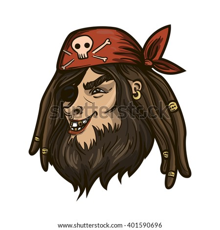 Vector pirate illustration. Angry pirate man portrait. - stock vector