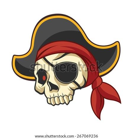 Vector pirate skull illustration - stock vector