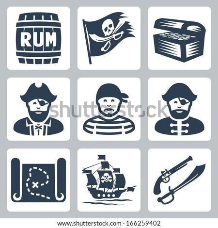 Vector pirates, piracy icons set - stock vector