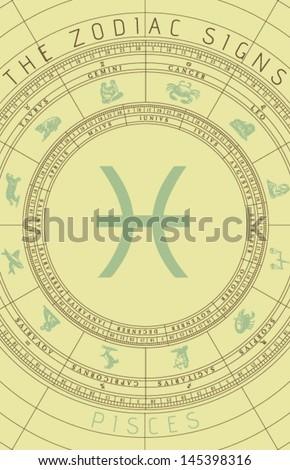Vector Pisces Zodiac Sign  - stock vector